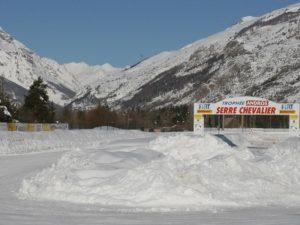 Ligne de départ du circuit de glace du Trophée Andros